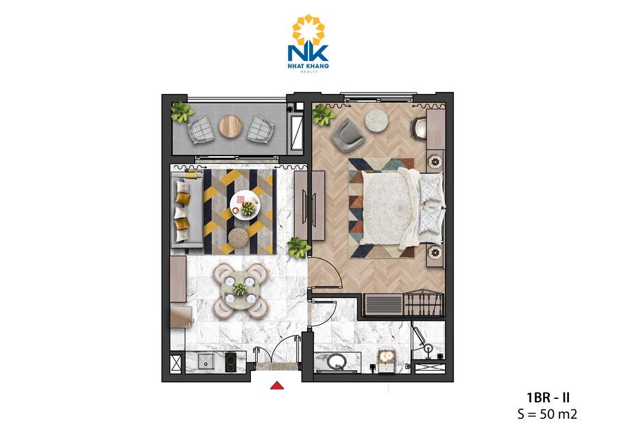 Căn Hộ 1 phòng ngủ 50m2 dự án Sun Grand City Hillside Residences