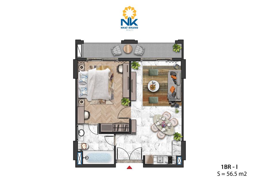 Căn Hộ 1phòng ngủ 56,5m2 dự án Sun Grand City Hillside Residences