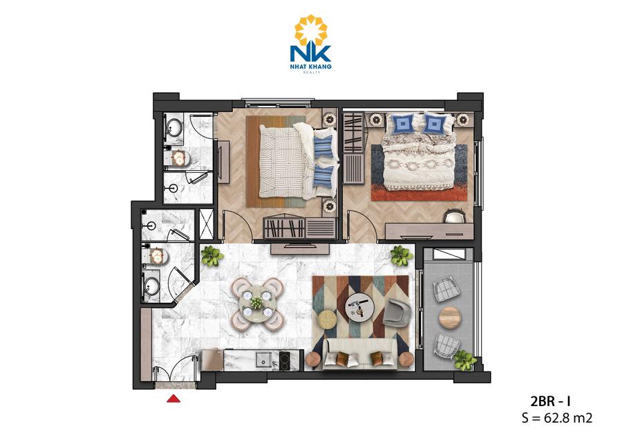 Căn Hộ 2 phòng ngủ 62,8m2 dự án Sun Grand City Hillside Residences