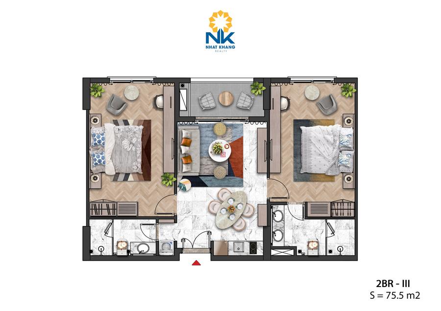 Căn Hộ 2 phòng ngủ 75,5m2 dự án Sun Grand City Hillside Residences