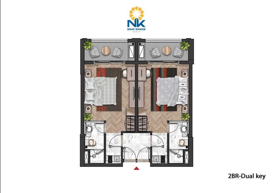 Căn Hộ 2 phòng ngủ Dual Key dự án Sun Grand City Hillside Residences