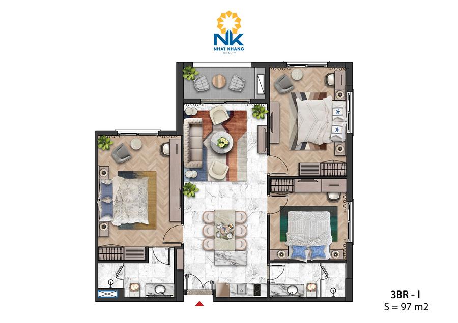 Căn Hộ 3 phòng ngủ 97m2 dự án Sun Grand City Hillside Residences