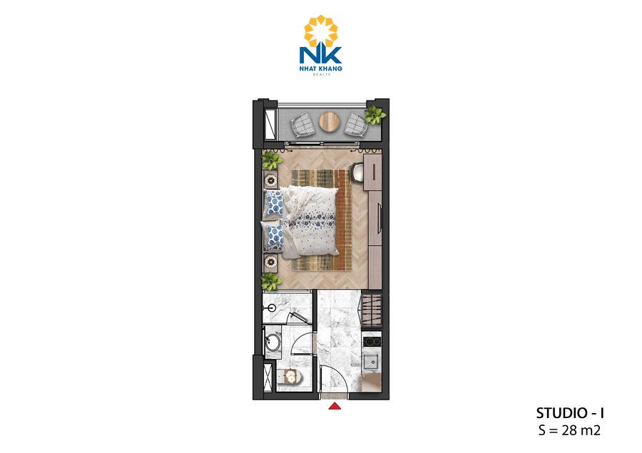Căn Hộ Studio 28m2 dự án Sun Grand City Hillside Residences