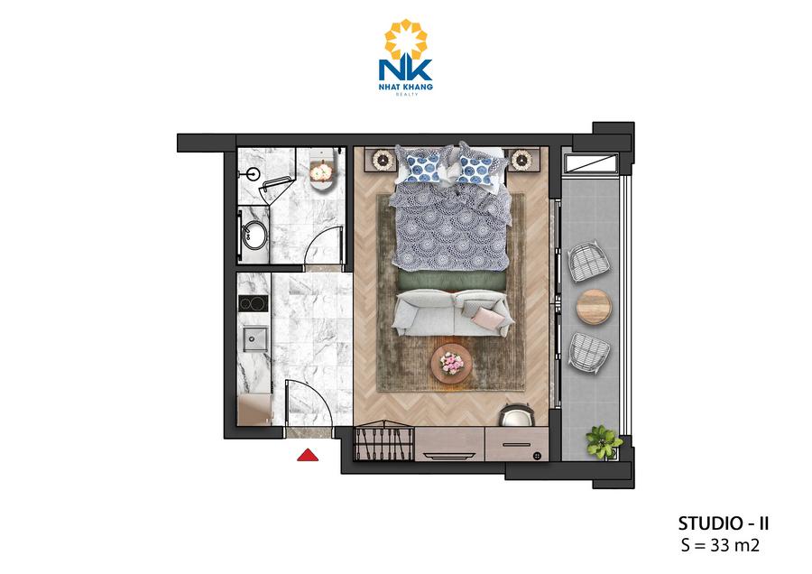 Căn Hộ Studio 33m2 dự án Sun Grand City Hillside Residences