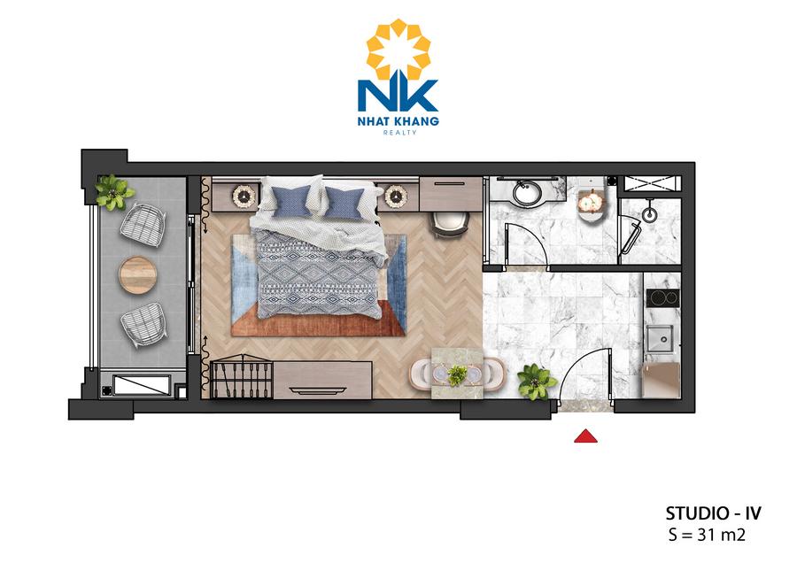 Căn Hộ Studio 31m2 dự án Sun Grand City Hillside Residences