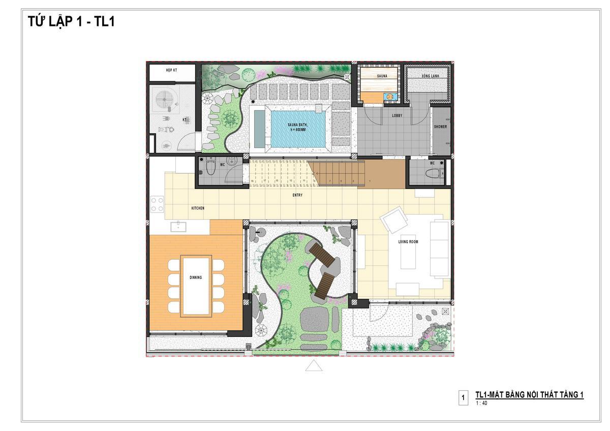 Layout tầng 1 biệt thự tu lập Sun Onsen Village Quang Hanh của Sun Group