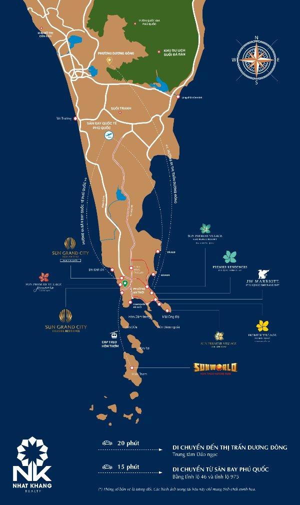 Vị trí dự án Sun Grand CIty Hillside Residences Phú QUốc